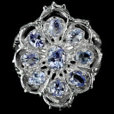 NATURAL AAA BLUE TANZANITE OVAL & PEAR STERLING 925SILVER CLUSTER RING SIZE 7.75