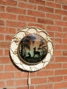 RARE ORIGINAL VINTAGE MID CENTURY METAL & CONVEX GLASS WALL LIGHT