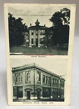 early 1900s Postcard Hope Arkansas High School Citizens Bank Antique Pc