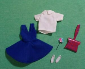 Vintage Skipper Clothes - Vintage Skipper CLONE Blue Jumper with White Blouse
