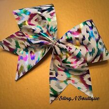 CHEER BOW - White W/Neon Cheetah Print - White Neon Cheetah