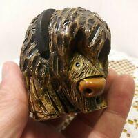 Vintage Hand Craved Artesania Rinconada Buffalo.  Made In Uruguay
