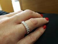 3Ct Princess Cut Diamond Stackable Half Eternity Ring Band 14K White Gold Finish