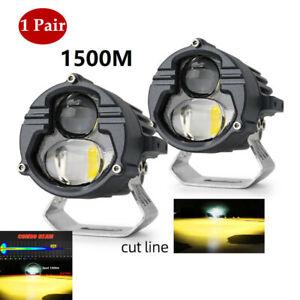 1 Pair 6000K DC9V-85V Motorcycle Car Aluminum External LED Headlights Universal