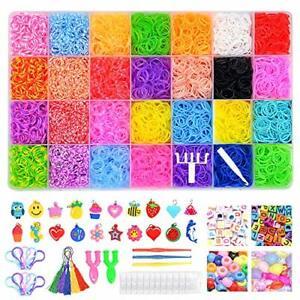 Gomas para Hacer Pulseras,32 Rainbow Celdas Kit de Pulseras de Goma Telar Bandas de Goma DIY Cintas de Telar,para Hacer Joyas para Ni/ños Pulseras Banda de Telar Juego Creativo para Ni/ños,con 23 Colore