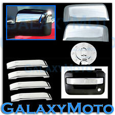 04-08 Ford F150 Chrome TOP Half Mirror+4 Door Handle Lever ONLY+Gas Tank Cover