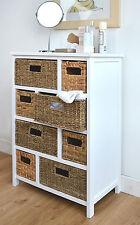 8 Drawer Basket Storage Unit Chest of Drawers Cabinet Home Furniture Wood Frame