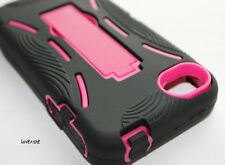 iPHONE 4 4G 4S - HARD & SOFT RUBBER SKIN HEAVY DUTY CASE COVER PINK KICK STAND