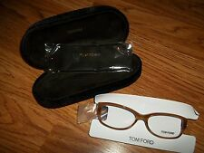 TOM FORD Non Perscription Clear Lens Eye Glasses Lt Havana FRAME w CASE $295 NEW