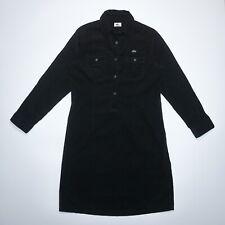 Lacoste Women's Black Long Sleeve Collared Cotton Velvet Shirt Dress Size L