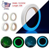 30ft Luminous Tape Glow In The Dark Sticker Fluorescent Light Night Safety Strip