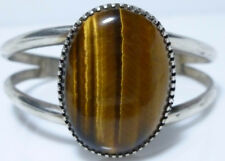 STERLING SILVER TIGERS EYE MEXICO MEXICAN VINTAGE WOMENS CUFF BRACELET