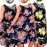 ❤️ Womens Sleeveless Floral Swing Dress Ladies Summer Beach Short Sundress S-2XL