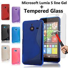 TPU S Line Gel Case Cover & Tempered Glass Flim for Nokia/Microsoft Lumia Phones