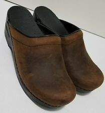 DANSKO Clogs Sonja Brown Oiled Leather Stapled Backless Open Back Size 36