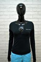 Maglia Donna ARMANI JEANS Taglia 40 Blusa Manica Lunga Shirt Women Nera Elastica