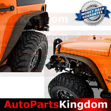 07-17 Jeep Wrangler JK Black Textured Flat Steel Front+Rear Fender Flares (4PCS)