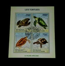 IVORY COAST, 2014, TURTLES, WILDLIFE, SOUVENIR SHEET/4, LOT #3, CTO, NICE LQQK