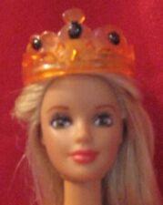 OOAK Barbie Princess Tiara Style Crown~Orange w/Black Glitter Gems