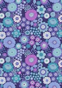 Lewis & Irene Flower Child far out floral blues100% cotton fat quarter-metre