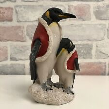 Cute Resin Ornament of Parent & Child Penguins in Christmassy Coats