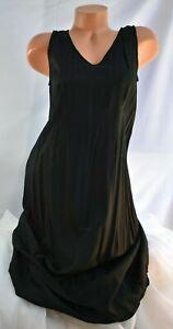 APRIL CORNELL (S) Slip Dress BLACK Rayon Smooth Silky Maxi V-Neck Pullover