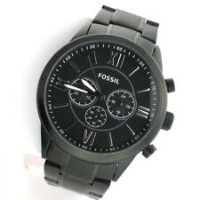 Fossil Flynn BQ1127IE Mens Black Stainless Steel Link Band Chronograph Watch