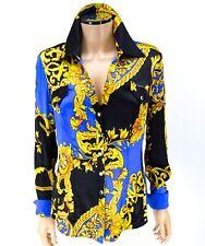 CACHE Silk Snaps Blouse LARGE Royal Blue Black Gold Baroque Print Shirt Top