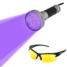 Blacklight Flashlight - 100 LED Ultra Violet UV Handheld Light Stain Detector wi