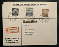 1936 Dusseldorf to Tangermünde Germany Hans Froede Registered Mail Cover