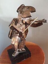 Frank Meisler Judaica Hasidic Fiddler cast metal sculpture Old City Jaffa Israe