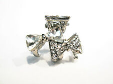 small mini silver metal double bow hair claw clip with crystals bridal clip