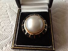 """Erte Black Onyx & Mabe Pearl """"Soleil Noir"""" Domed Ring Limited Edition 42/75 COA"""