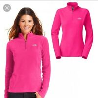 The North Face Pink TKA 100 Glacier Quarter Zip Fleece Jacket Size Small