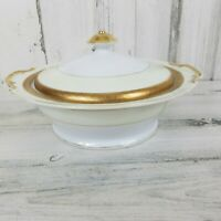 Gem China Japan Covered Vegetable Serving Bowl Pink Rose Green Leaves Gold Trim
