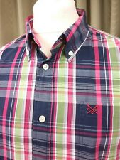 Crew Clothing Tailored Fit 100% Cotton Blue/Red/White/Green Check Shirt XL C44""