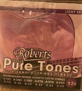 Ten sets of Roberts Pure Tones Acoustic Guitar Strings. 12-53