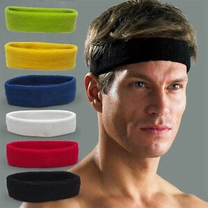 Women/Men Cotton Sweat Sweatband Headband Yoga Gym Stretch Head Band Sport Sl