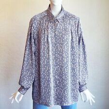 EQUIPMENT Femme Bouvier Button Down Front Diamond Pleated Print Shirt Blouse L