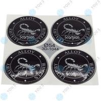 4 x YOU.S Nabenkappen Silikon Aufkleber 54,0 mm - schwarz silber Scorpion Emblem