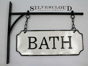 Rustic Hanging Double-Sided BATH Embossed Black on White Enamel Metal Sign