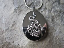 STAINLESS STEEL DRAGON URN NECKLACE -MOURNING, ASHES, LOCK OF HAIR, MYTHICAL