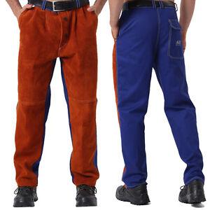 AP-6062 Men Hybrid Welding Pants/Chaps  w/ Cowhide Leather Front &FR Cotton Back