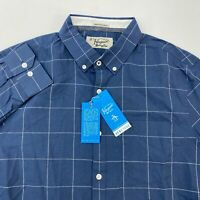 NWT Penguin Button Up Shirt Men's Large Long Sleeve Blue White Heritage Slim Fit