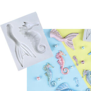 Seahorse Silicone Fondant Cake Mold Mermaid Fish Tail Mould Chocolate Decorating