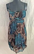 Sexy Speechless Brown Green Floral Paisley Straps V-Neck Dress Wide Waist Medium