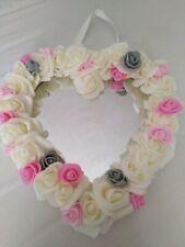 Flower Heart Mirror  nursery Shabby Chic Home Decor Room Girls Pink grey cream