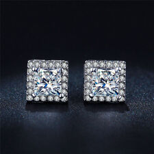 Square Design 18K White Gold Plated Cubic Zirconia Gem Charming Stud Earrings