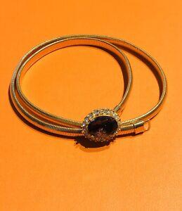 Vintage Anne Klein Gold Plated Tubogas Purple Crystal Women's Waist Belt