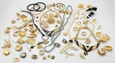 Lot Of 85 Fashion Jewelry Black Silver Gold-Tone Earrings Necklace Other 10400
